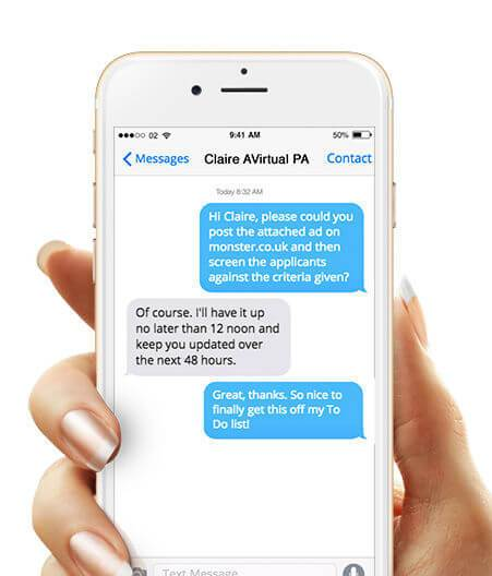 a client holds her mobile as she messages her virtual personal assistant. the interactions are simple, productive and easy