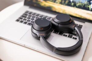 Headphones on a laptop