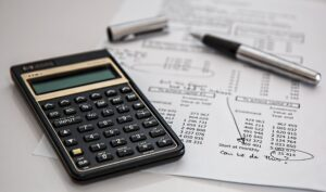 Calculator on a financial statement