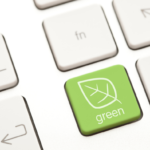 """A keyboard with a """"green"""" button for sustainable business"""