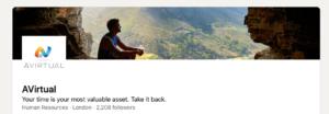 A screenshot of AVirtuals LinkedIn page