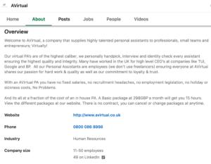 A screenshot of AVirtual company Linkedin page
