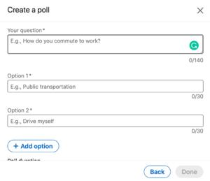 A screenshot of the new LinkedIn poll feature