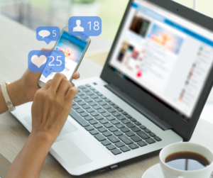 A person doing social media management which is a task you can delegate
