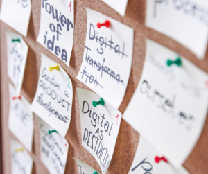 Notes on a pinboard making a plan as a rule for a successful business