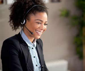 A customer service agent on the phone